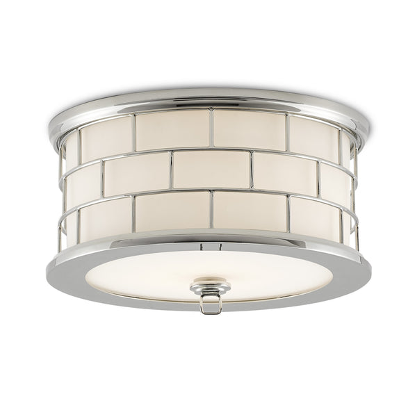 Currey and Company 9999-0051 Barry Goralnick Collection James Flush Mount in White/Polished Nickel