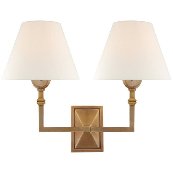 Visual Comfort AH 2320HAB-L Alexa Hampton Casual Jane Double Sconce in Hand-Rubbed Antique Brass