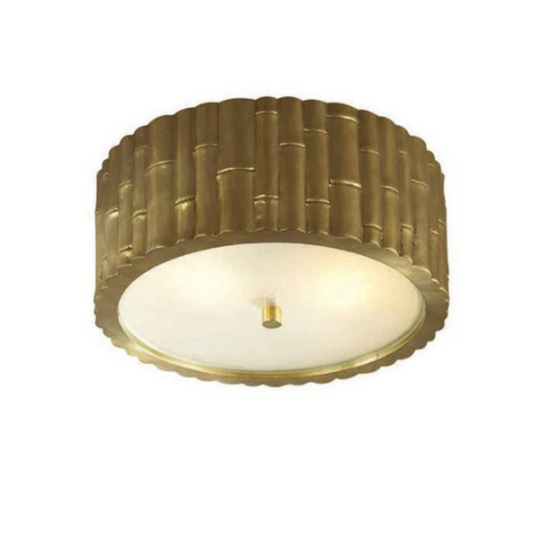 Visual Comfort AH 4004NB-FG Alexa Hampton Casual Frank Small Flush Mount in Natural Brass with Frosted Glass