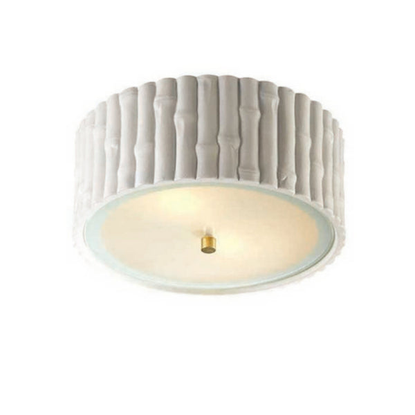 Visual Comfort AH 4004WHT-FG Alexa Hampton Casual Frank Small Flush Mount in White with Frosted Glass