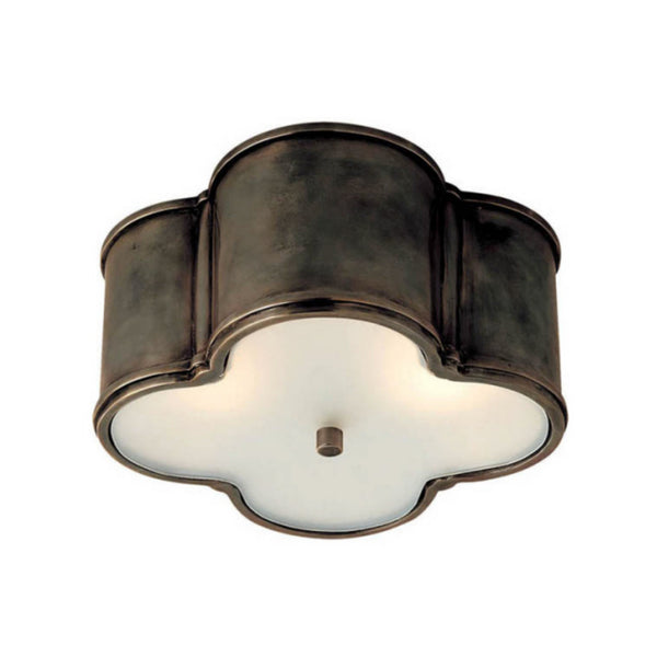 Visual Comfort AH 4014GM-FG Alexa Hampton Traditional Basil Small Flush Mount in Gun Metal with Frosted Glass