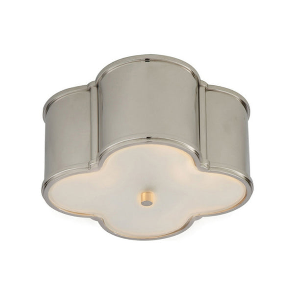 Visual Comfort AH 4014PN-FG Alexa Hampton Traditional Basil Small Flush Mount in Polished Nickel with Frosted Glass