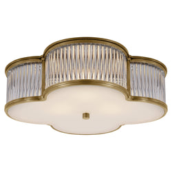"Visual Comfort AH 4015NB/CG-FG Alexa Hampton Basil 17"" Flush Mount in Natural Brass with Clear Glass"