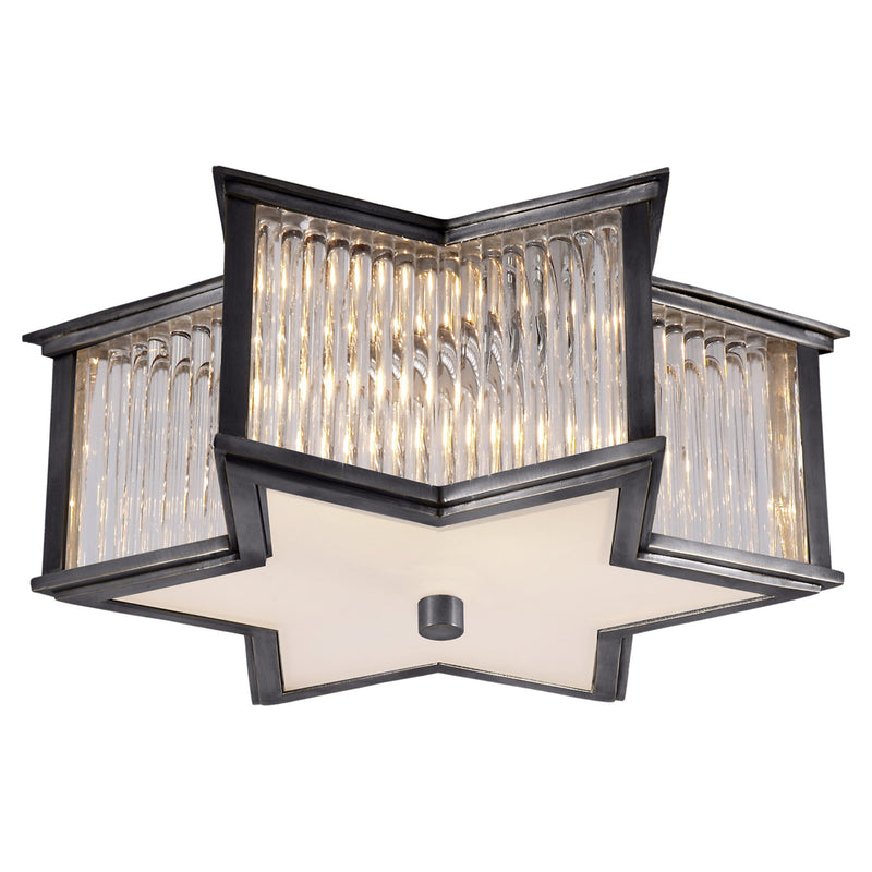 Visual Comfort AH 4016GM/CG-FG Alexa Hampton Sophia Small Flush Mount in Gun Metal and Clear Glass Rods with Frosted Glass