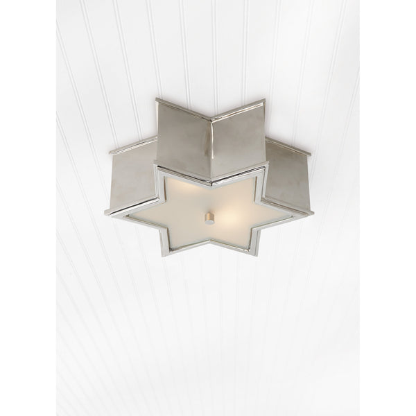 Visual Comfort AH 4016PN-FG Alexa Hampton Modern Sophia Small Flush Mount in Polished Nickel with Frosted Glass