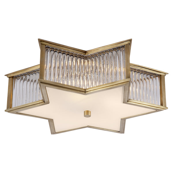 "Visual Comfort AH 4017NB/CG-FG Alexa Hampton Sophia 17"" Flush Mount in Natural Brass with Clear Glass"