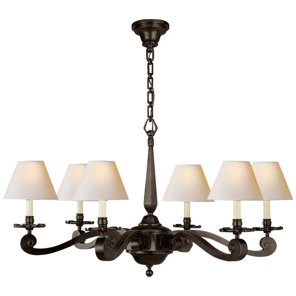 Visual Comfort AH 5010GM-NP Alexa Hampton Traditional Myrna Chandelier in Gun Metal with Natural Paper Shades