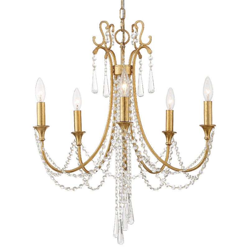 Crystorama ARC-1905-GA-CL-MWP Arcadia Chandelier in Antique Gold