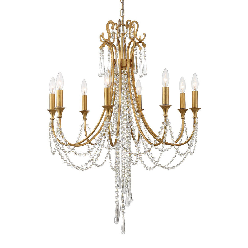 Crystorama ARC-1908-GA-CL-MWP Arcadia Chandelier in Antique Gold