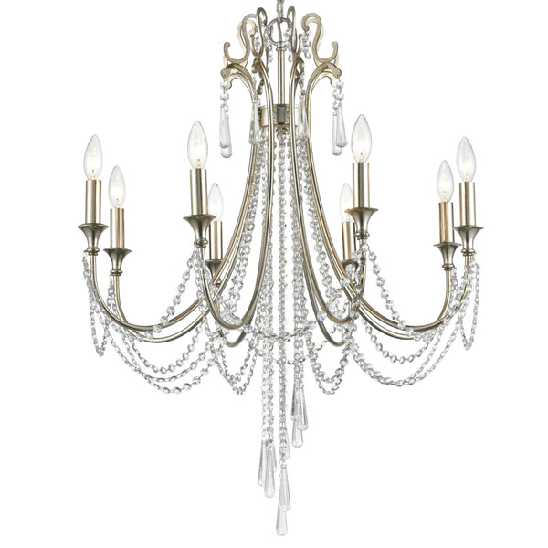 Crystorama ARC-1908-SA-CL-MWP Arcadia Chandelier in Antique Silver