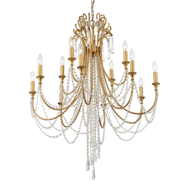 Crystorama ARC-1909-GA-CL-MWP Arcadia Chandelier in Antique Gold