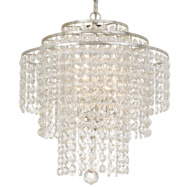 Crystorama ARI-304-SA-CL-MWP Arielle Chandelier in Antique Silver