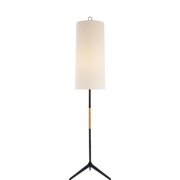 Visual Comfort ARN 1001AI-L Aerin Modern Frankfort Floor Lamp in Aged Iron with Gilded Accents and Linen Shade