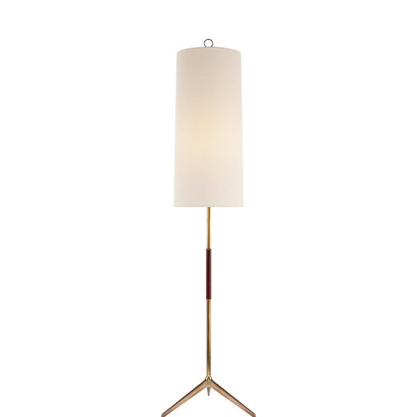 Visual Comfort ARN 1001HAB-L Aerin Modern Frankfort Floor Lamp in Hand-Rubbed Antique Brass with Mahogany Accents and Linen Shade