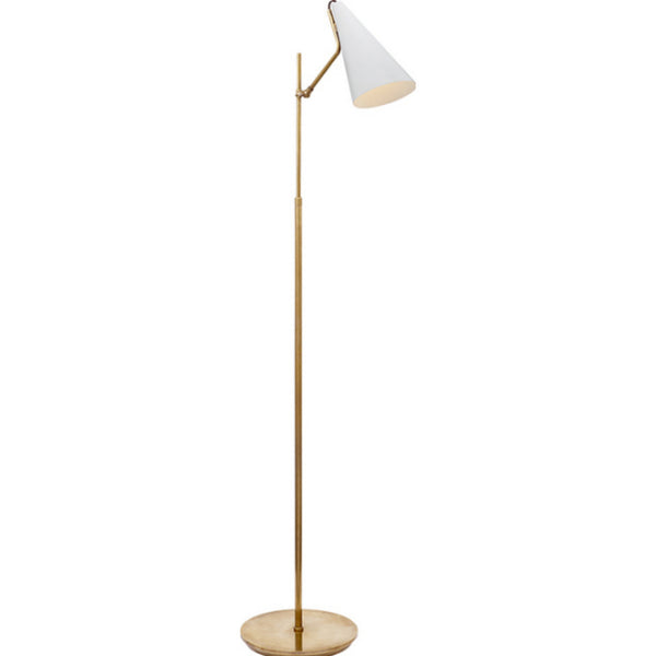 Visual Comfort ARN 1010HAB-WHT Aerin Modern Clemente Floor Lamp in Hand-Rubbed Antique Brass with White