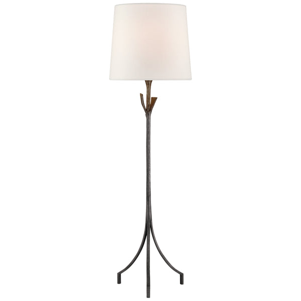 Visual Comfort ARN 1080AI-L Aerin Casual Fliana Floor Lamp in Aged Iron with Linen Shade