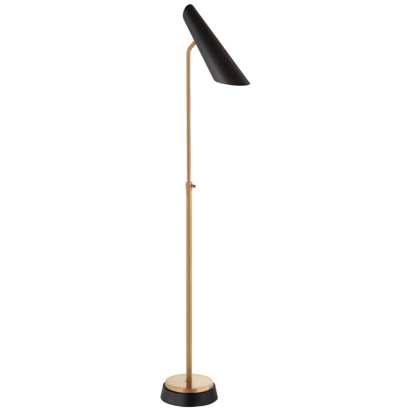 Visual Comfort ARN 1401HAB-BLK AERIN Franca Adjustable Floor Lamp in Hand-Rubbed Antique Brass with Black Shade