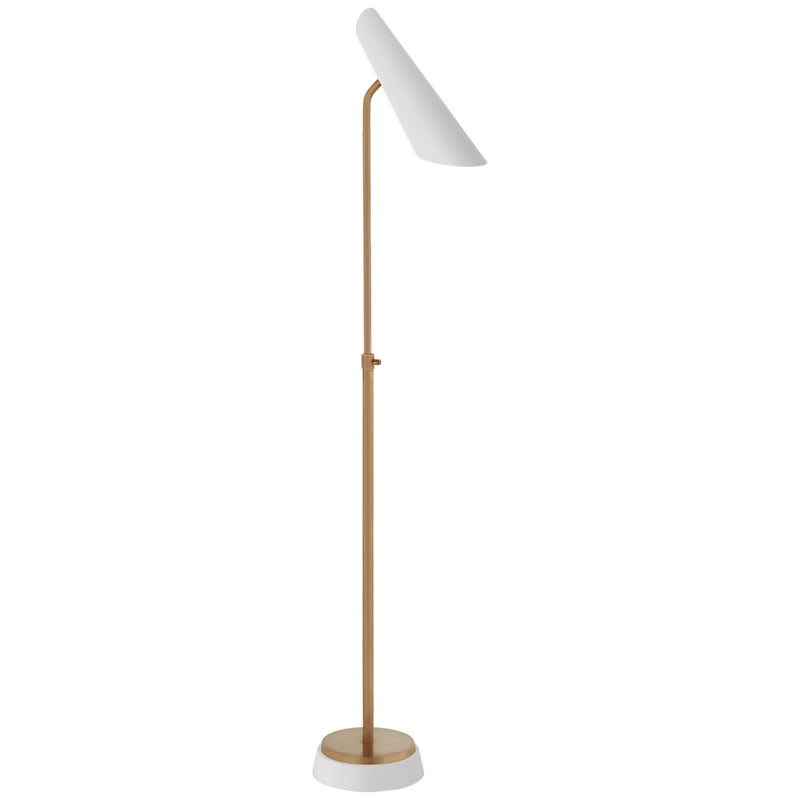 Visual Comfort ARN 1401HAB-WHT AERIN Franca Adjustable Floor Lamp in Hand-Rubbed Antique Brass with White Shade