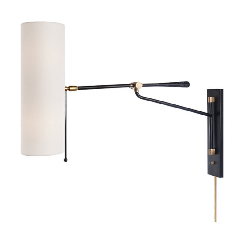 Visual Comfort ARN 2002BLK-L AERIN Frankfort Articulating Wall Light in Black and Brass