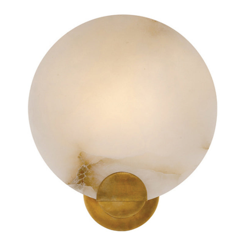 Visual Comfort ARN 2039HAB-ALB Aerin Modern Iveala Single Sconce in Hand-Rubbed Antique Brass with Alabaster Shade