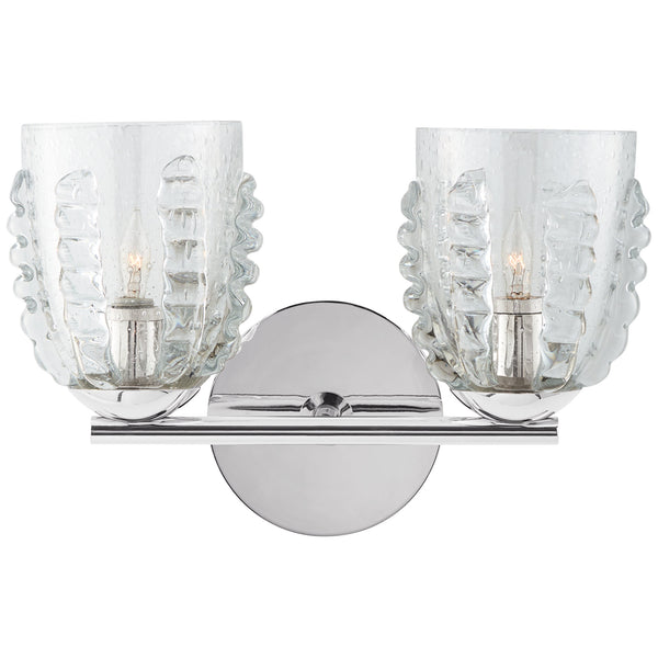 Visual Comfort ARN 2419PN-SG Aerin Traditional Gisela Double Sconce in Polished Nickel with Seeded Glass