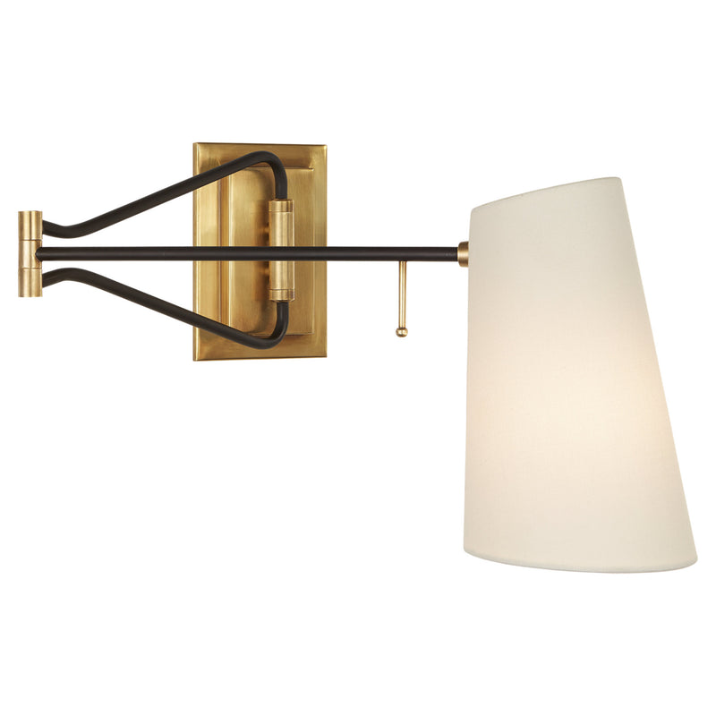 Visual Comfort ARN 2650HAB/BLK-L AERIN Keil Swing Arm Wall Light in Hand-Rubbed Antique Brass and Black