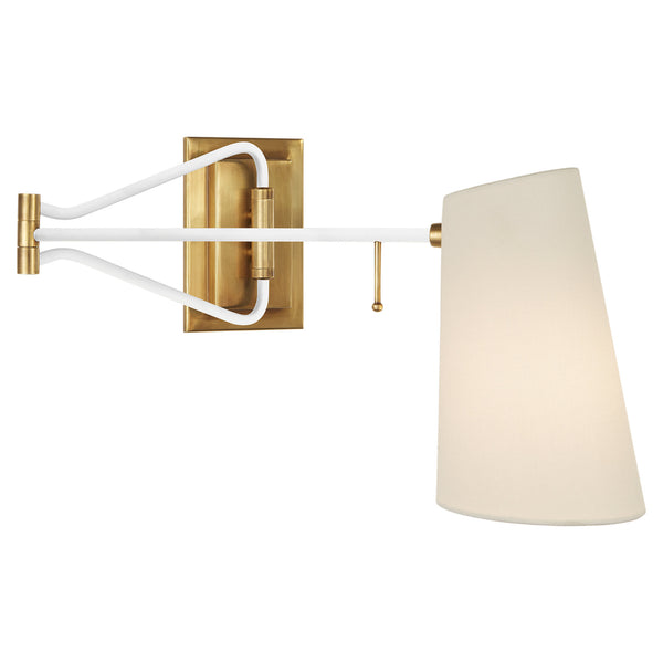 Visual Comfort ARN 2650HAB/WHT-L AERIN Keil Swing Arm Wall Light in Hand-Rubbed Antique Brass and White