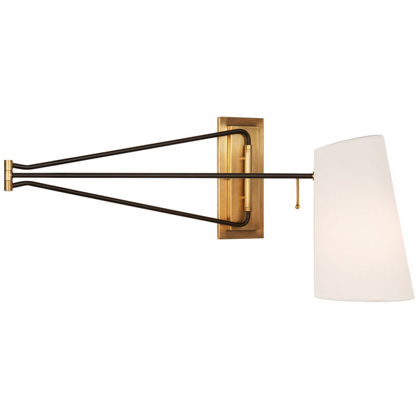 Visual Comfort ARN 2651HAB/BLK-L AERIN Modern Keil Large Swing Arm Wall Light in Hand-Rubbed Antique Brass and Black