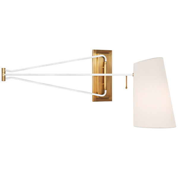 Visual Comfort ARN 2651HAB/WHT-L AERIN Modern Keil Large Swing Arm Wall Light in Hand-Rubbed Antique Brass and White