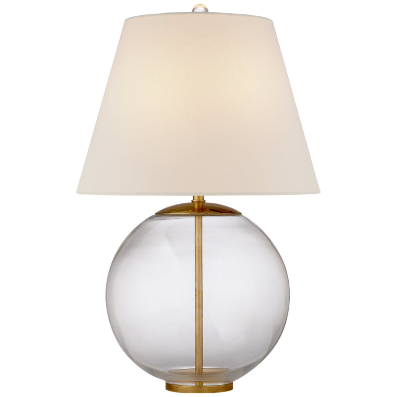 Visual Comfort ARN 3000CG-L Aerin Modern Morton Table Lamp in Clear Glass with Linen Shade