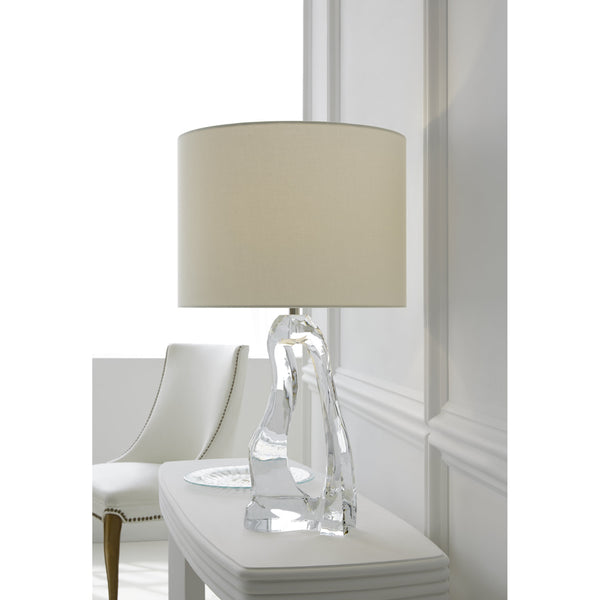 Visual Comfort ARN 3100CG-L Aerin Modern Cannes Table Lamp in Clear Glass with Linen Shade