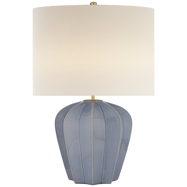 Visual Comfort ARN 3611PBC-L Aerin Casual Pierrepont Medium Table Lamp in Polar Blue Crackle with Linen Shade