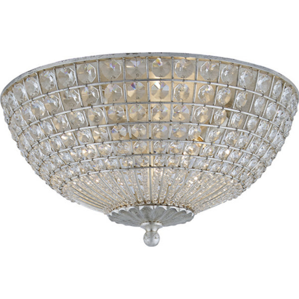 Visual Comfort ARN 4004BSL-CG AERIN Traditional Renwick Flush Mount in Burnished Silver Leaf