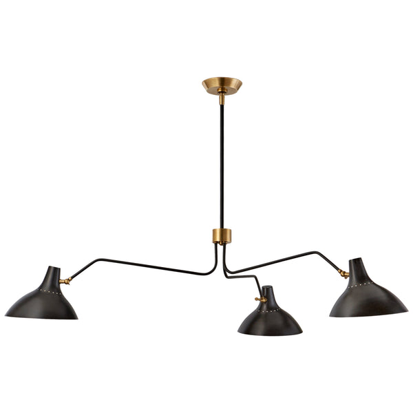 Visual Comfort ARN 5006BLK AERIN Charlton Large Triple Arm Chandelier in Black