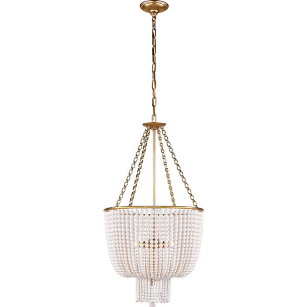 Visual Comfort ARN 5102HAB-WG Aerin Traditional Jacqueline Chandelier in Hand-Rubbed Antique Brass with White Acrylic