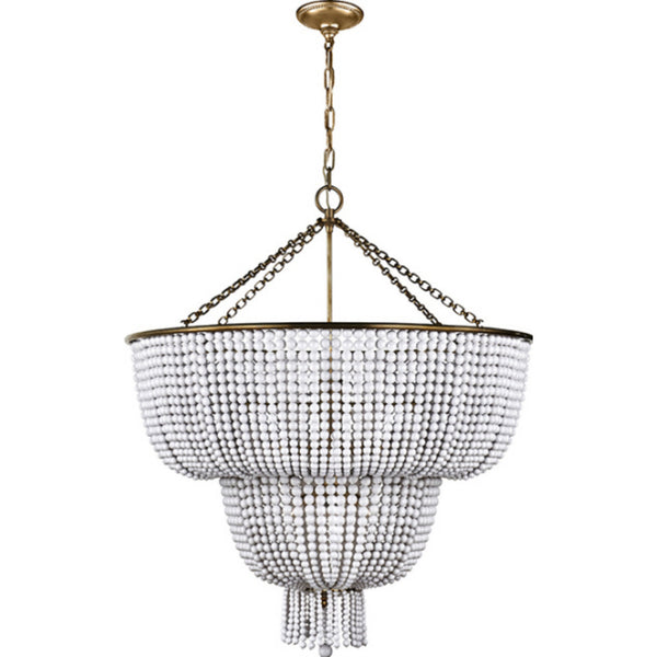 Visual Comfort ARN 5104HAB-WG AERIN Jacqueline Two-Tier Chandelier in Hand-Rubbed Antique Brass