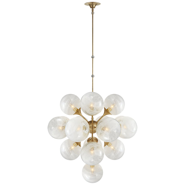 Visual Comfort ARN 5402HAB-WG AERIN Cristol Large Tiered Chandelier in Hand-Rubbed Antique Brass
