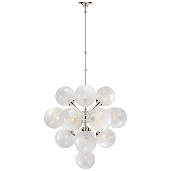 Visual Comfort ARN 5402PN-WG AERIN Cristol Large Tiered Chandelier in Polished Nickel