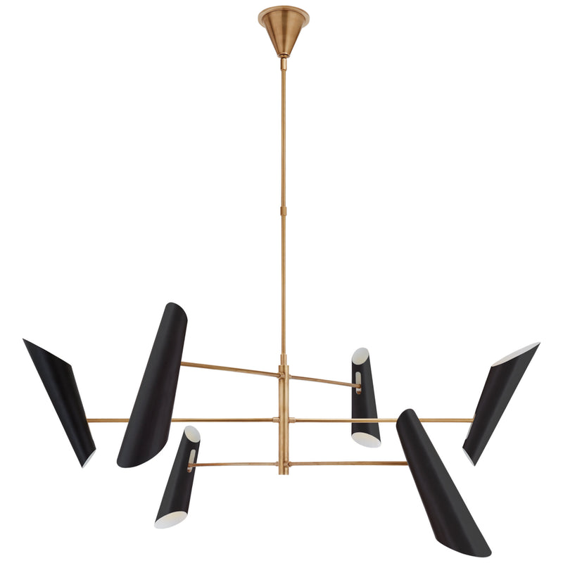 Visual Comfort ARN 5411HAB-BLK AERIN Franca Large Pivoting Chandelier in Hand-Rubbed Antique Brass