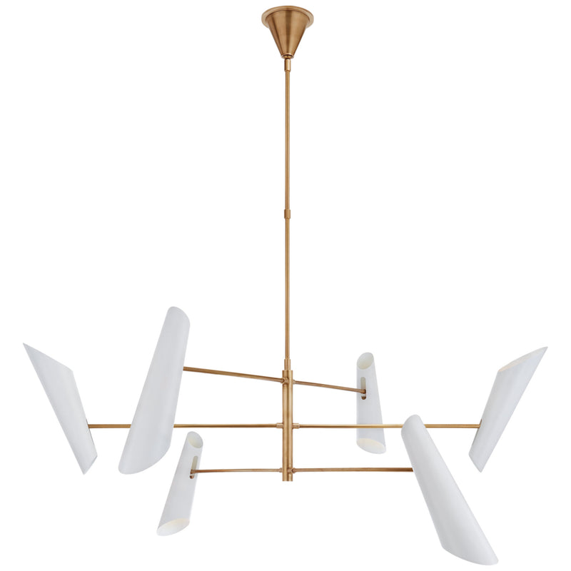 Visual Comfort ARN 5411HAB-WHT AERIN Franca Large Pivoting Chandelier in Hand-Rubbed Antique Brass