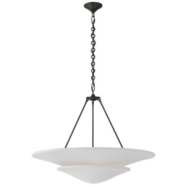 Visual Comfort ARN 5427BZ-PW Aerin Modern Mollino Large Tiered Chandelier in Bronze with Plaster White Shade