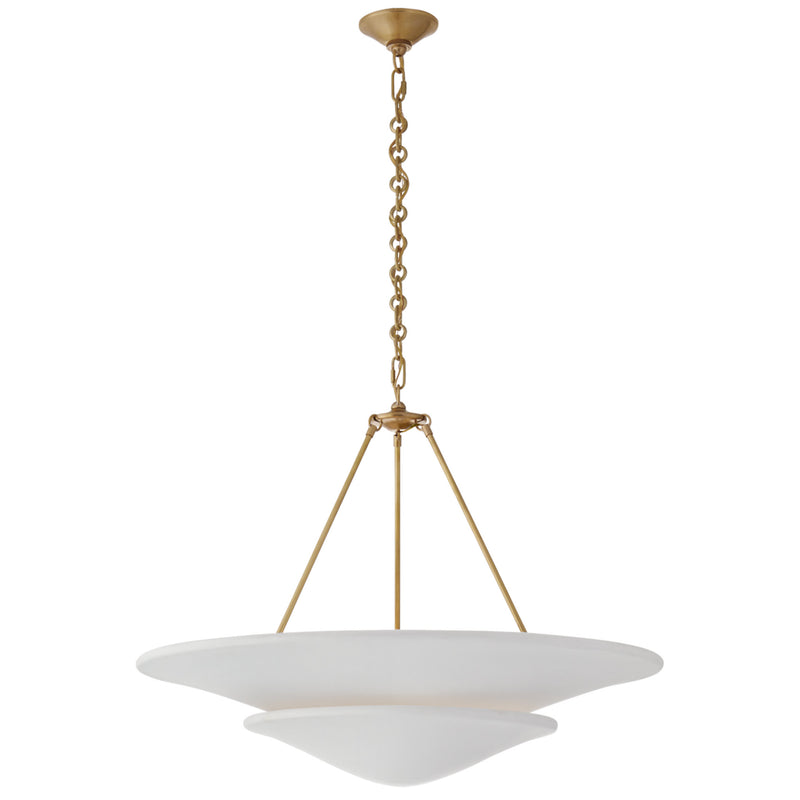 Visual Comfort ARN 5427HAB-PW AERIN Mollino Large Tiered Chandelier in Hand-Rubbed Antique Brass