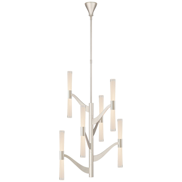 Visual Comfort ARN 5473PN-CG Aerin Modern Brenta Medium Tall Chandelier in Polished Nickel with Clear Glass