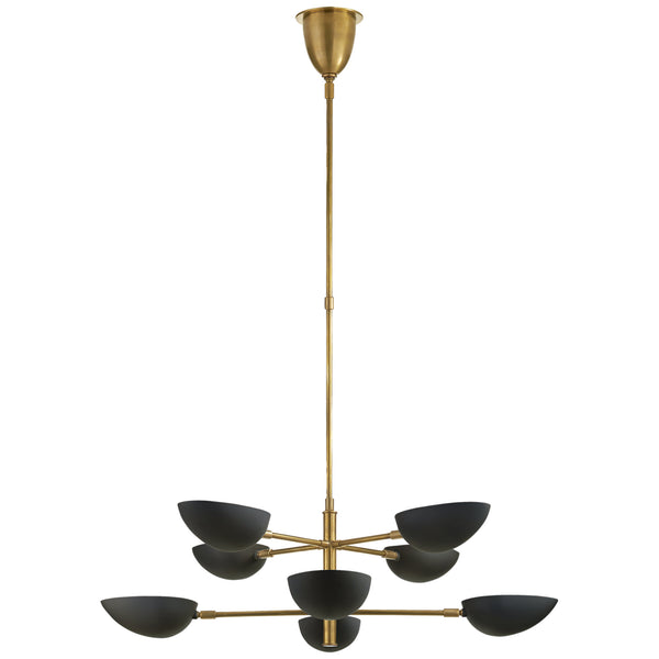 Visual Comfort ARN 5501HAB-BLK AERIN Graphic Large Two-Tier Chandelier in Hand-Rubbed Antique Brass