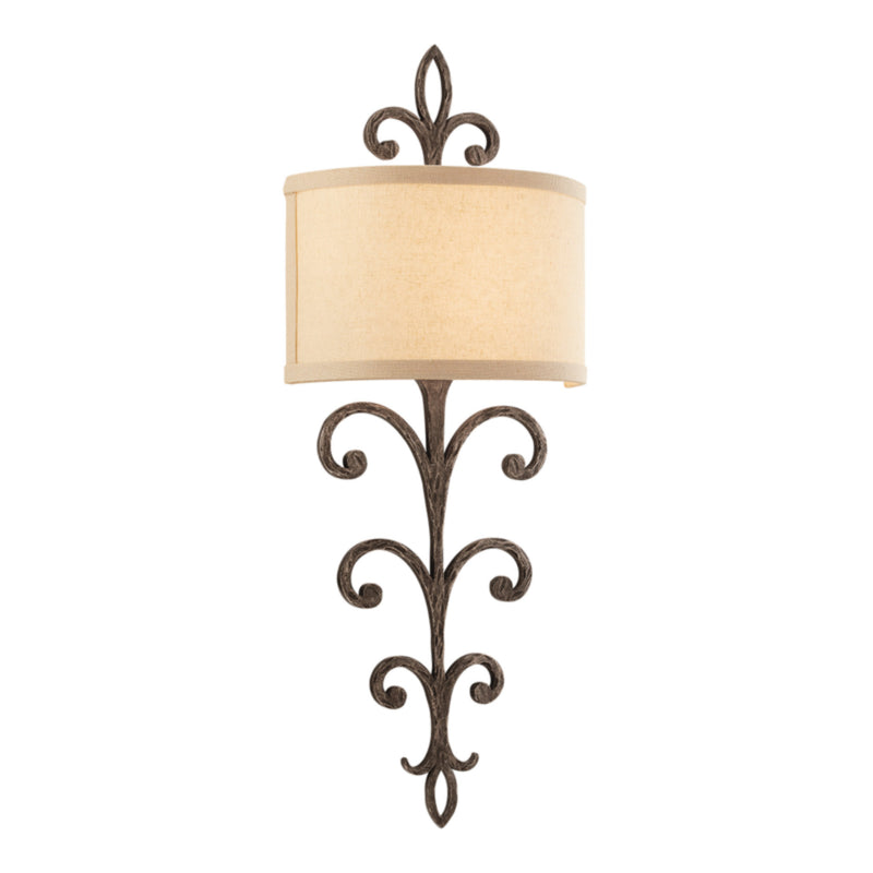 Troy Lighting B3172 Crawford 2lt Wall Sconce in Hand-Worked Iron
