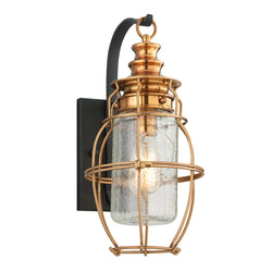 Troy Lighting B3572 Little Harbor 1lt Wall Lantern Medium in Hand-Worked Iron And Brass