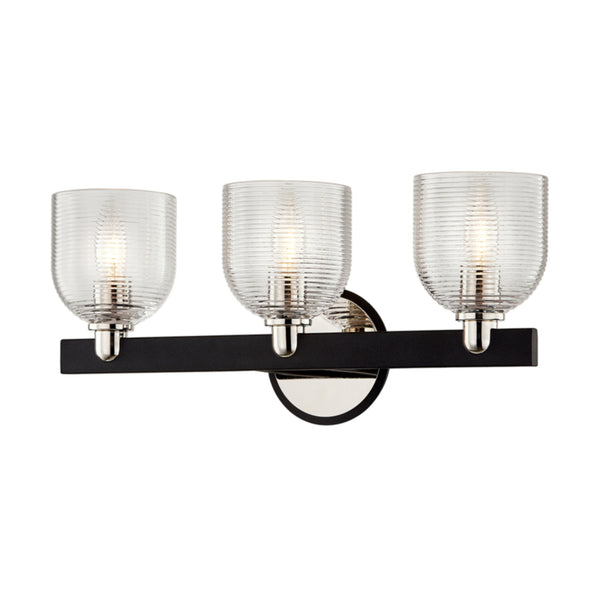 Troy Lighting B7713 Munich 3lt Vanity in Hand-Worked Iron