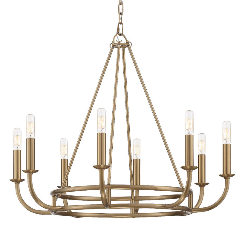 Crystorama BAI-A2108-AG Bailey Chandelier in Aged Brass