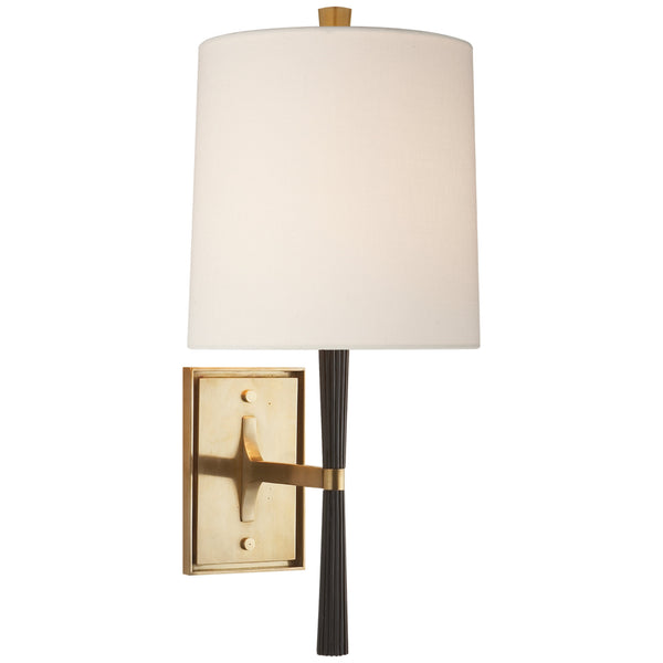 Visual Comfort BBL 2036EBO-L Barbara Barry Modern Refined Rib Sconce in Ebony Resin and Soft Brass with Linen Shade