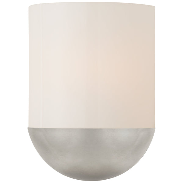 Visual Comfort BBL 2155BSL-WG Barbara Barry Modern Crescent Small Sconce in Burnished Silver Leaf with White Glass